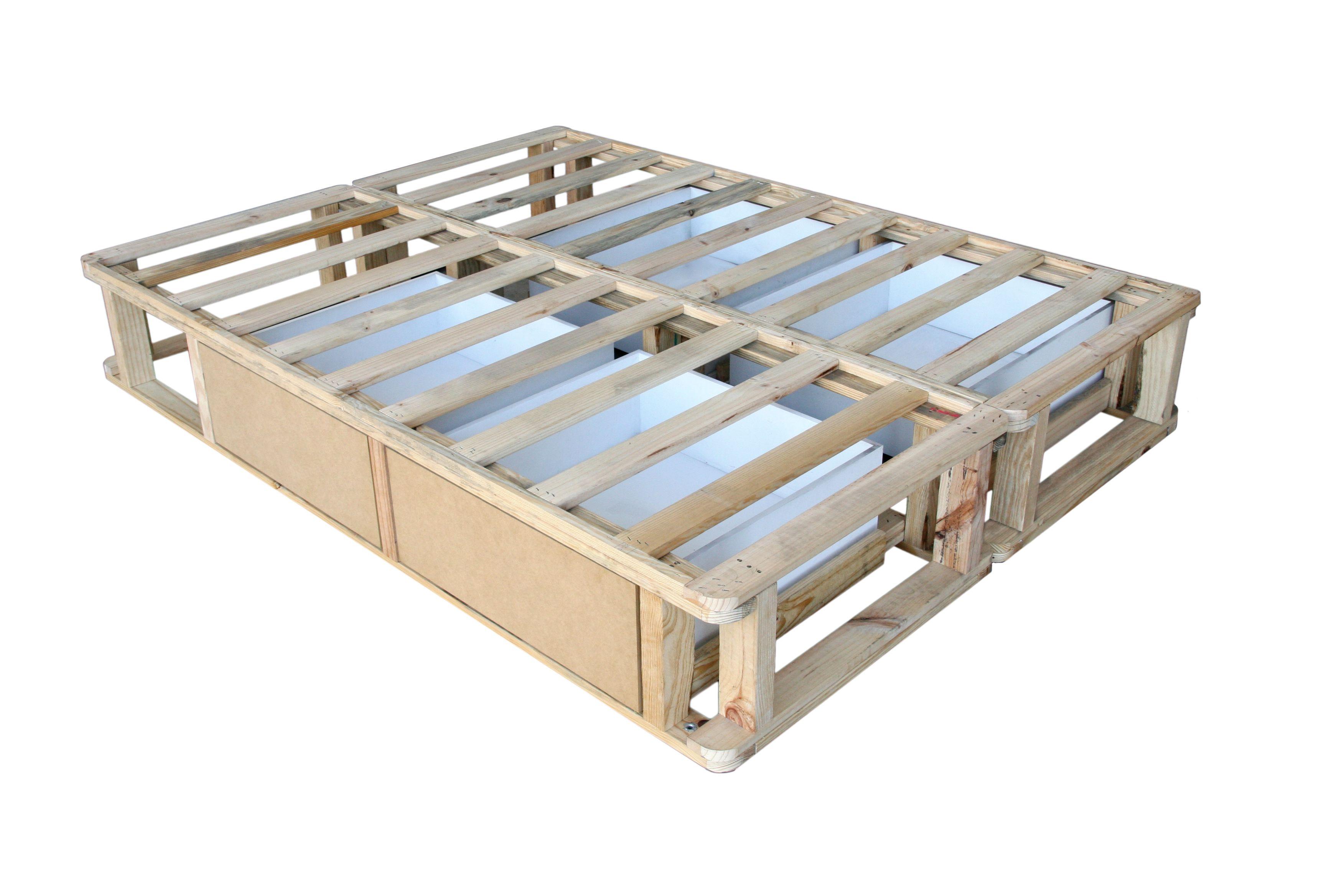 Pallet bed with drawers avec des palettes ou des for How to make a pallet bed with drawers