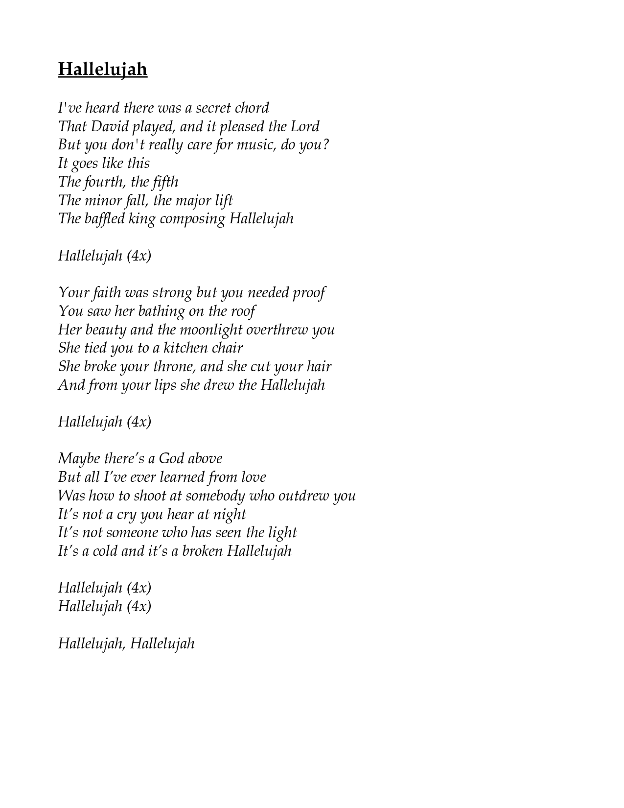 Hallelujah - notes and lyrics for vocal