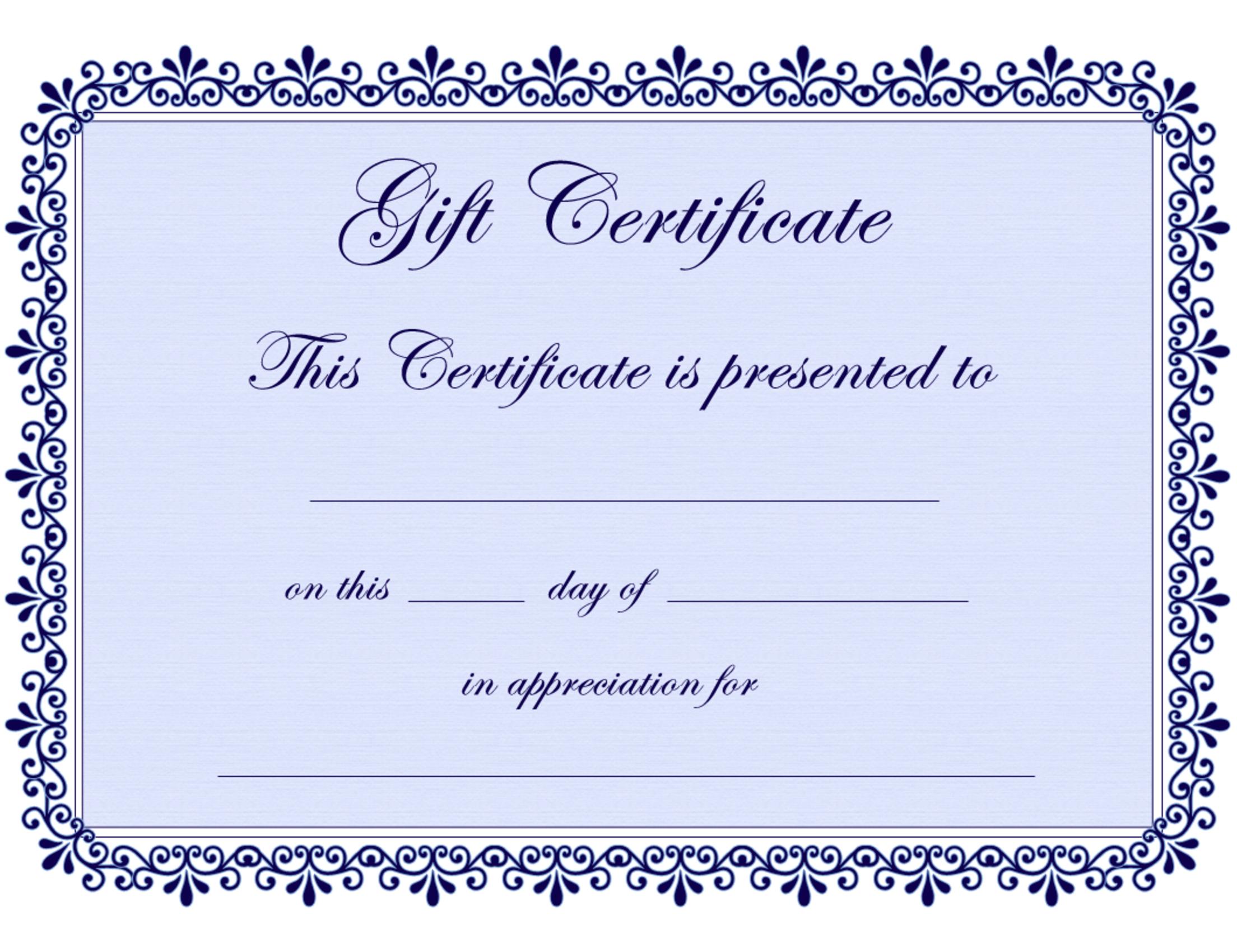 Fillable Gift Certificate – Printable Editable Blank