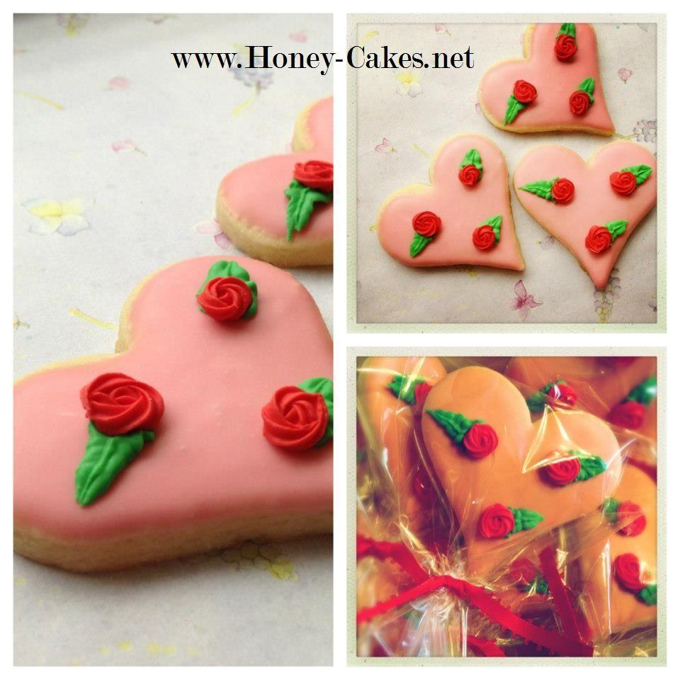 valentine rose cookies