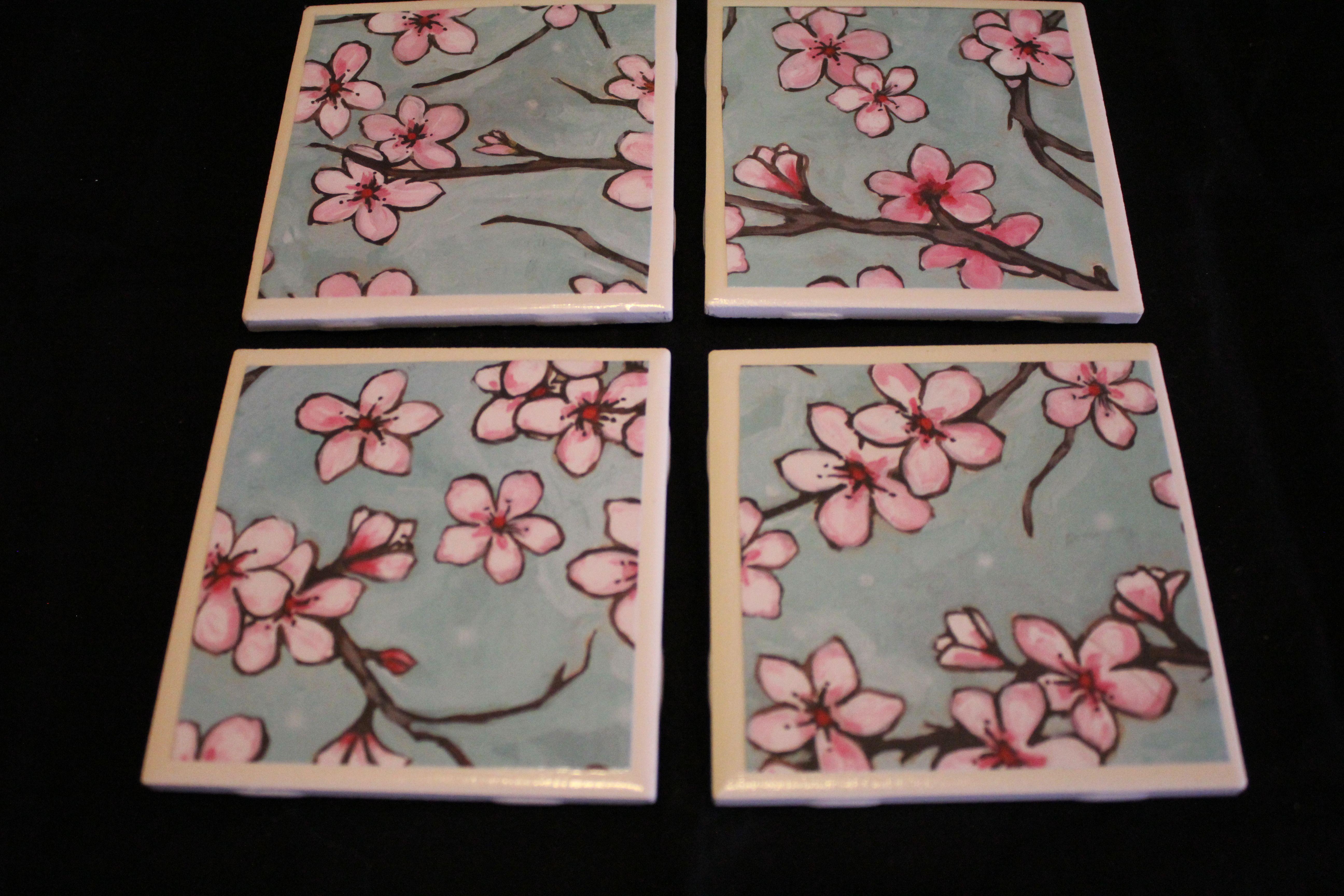 Ceramic tile coasters set of 4 6 craft ideas pinterest for Ceramic tile craft ideas