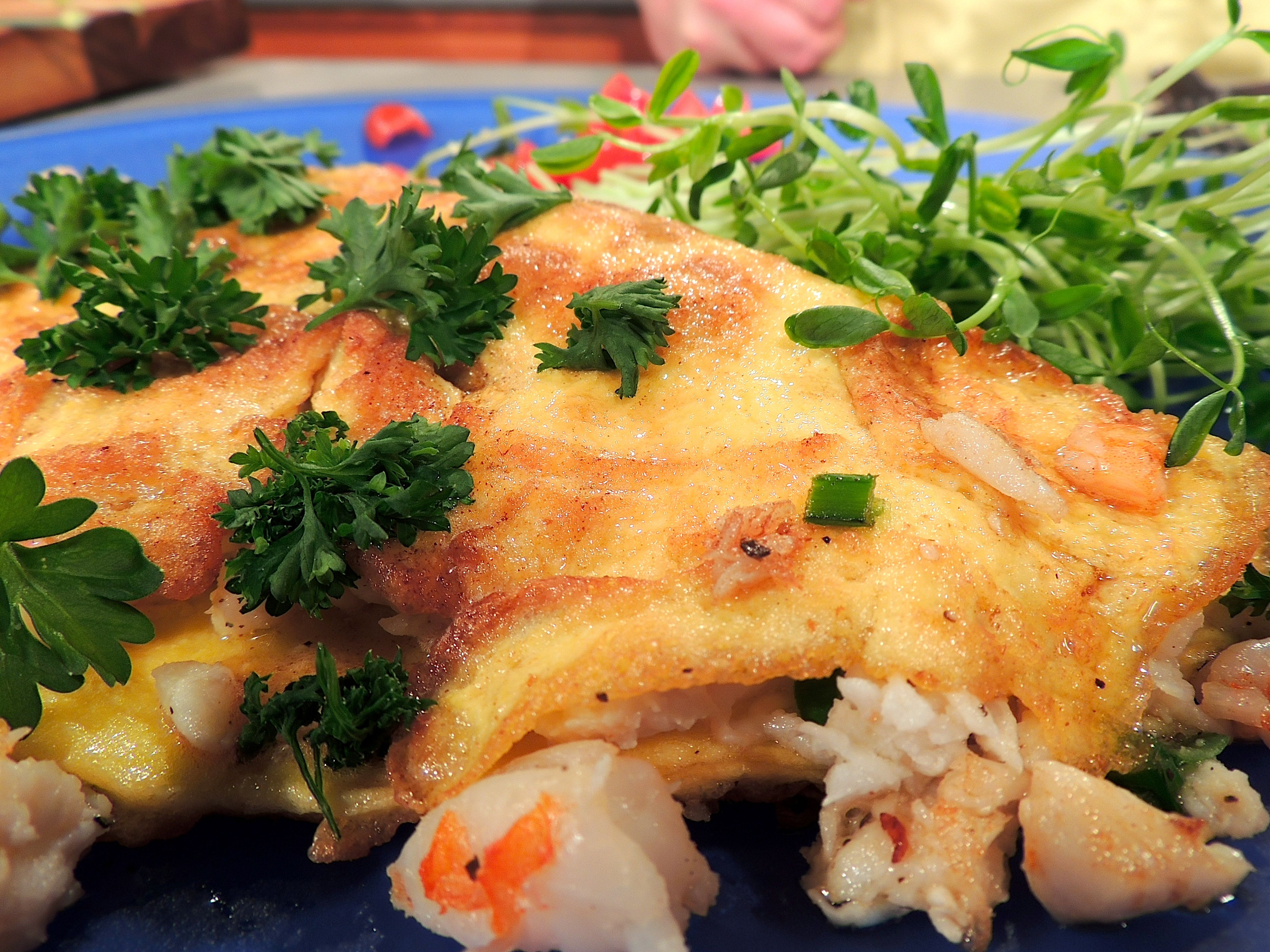 Shrimp & Crab Omelet - Over Easy | QED Cooks | Pinterest