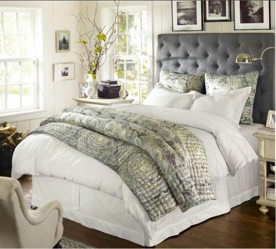 Gray tufted headboard bedroom pinterest Grey tufted headboard