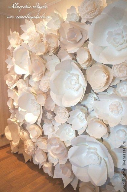 Объемные цветы из ватмана для украшения сцены