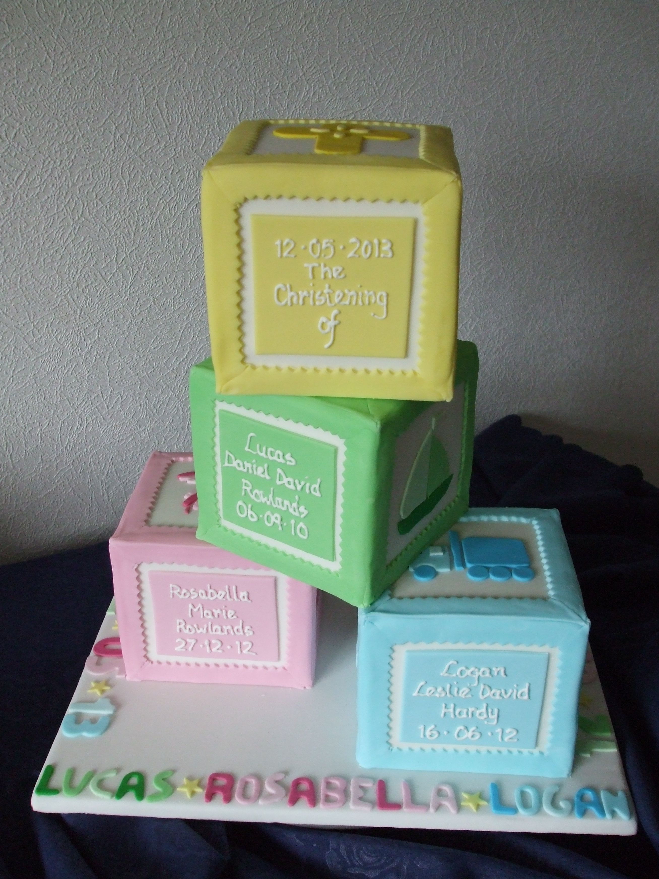 Building Blocks Christening cake | cakes | Pinterest