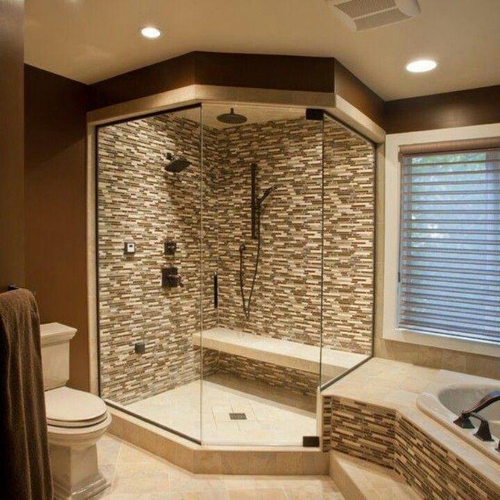 Corner walk in shower idea master bath bathrooms pinterest - Pinterest bathroom design ...