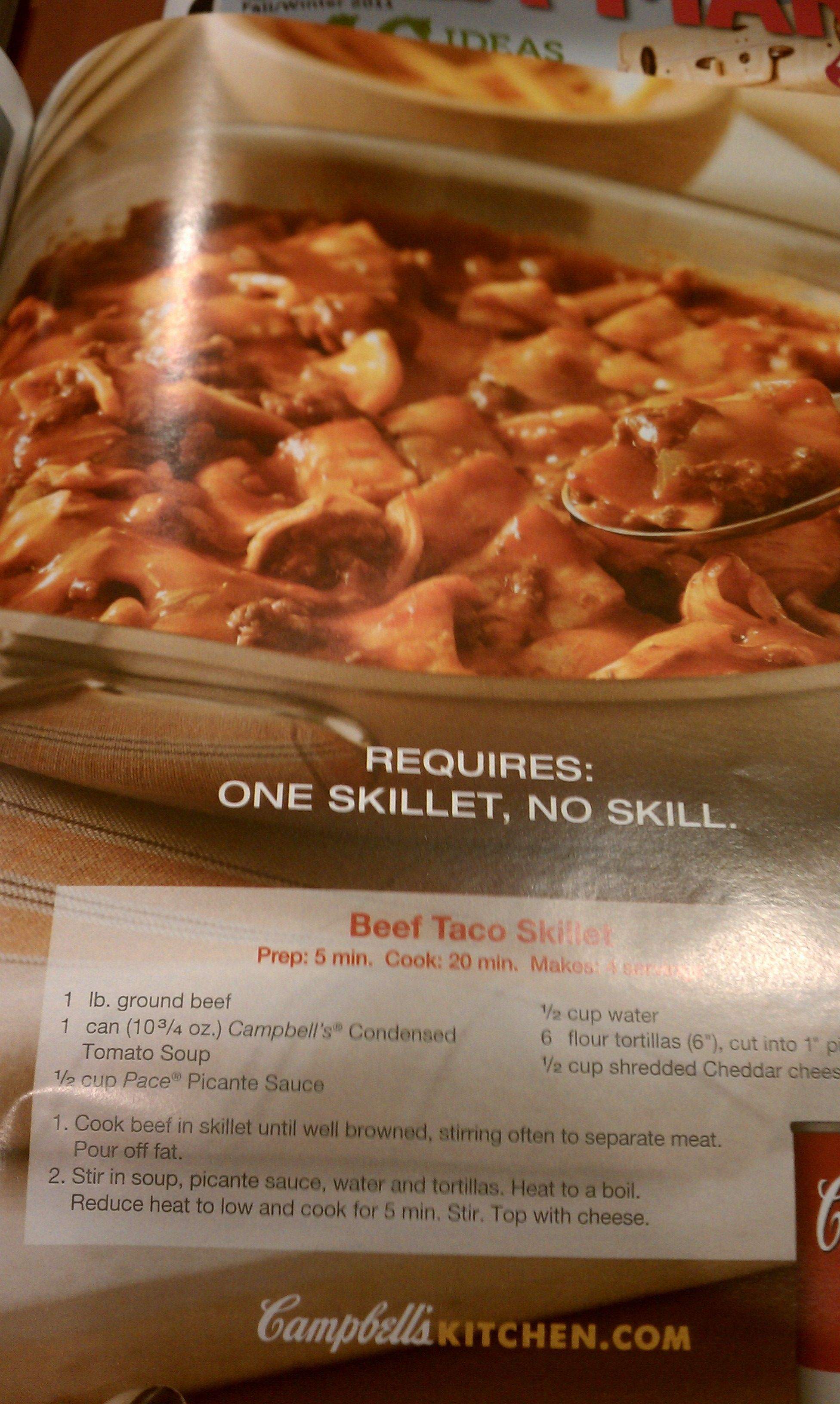Campbell's Beef Taco Skillet | time to eat! cook book | Pinterest