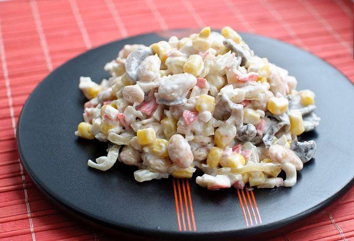 Салат из грибов и крабовых палочек рецепты с