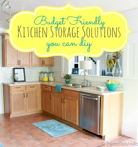 Need more kitchen storage but don't have the money for a big remodel?  Check out these inexpensive ways to maximize your kitchen storage options at Remodelaholic.