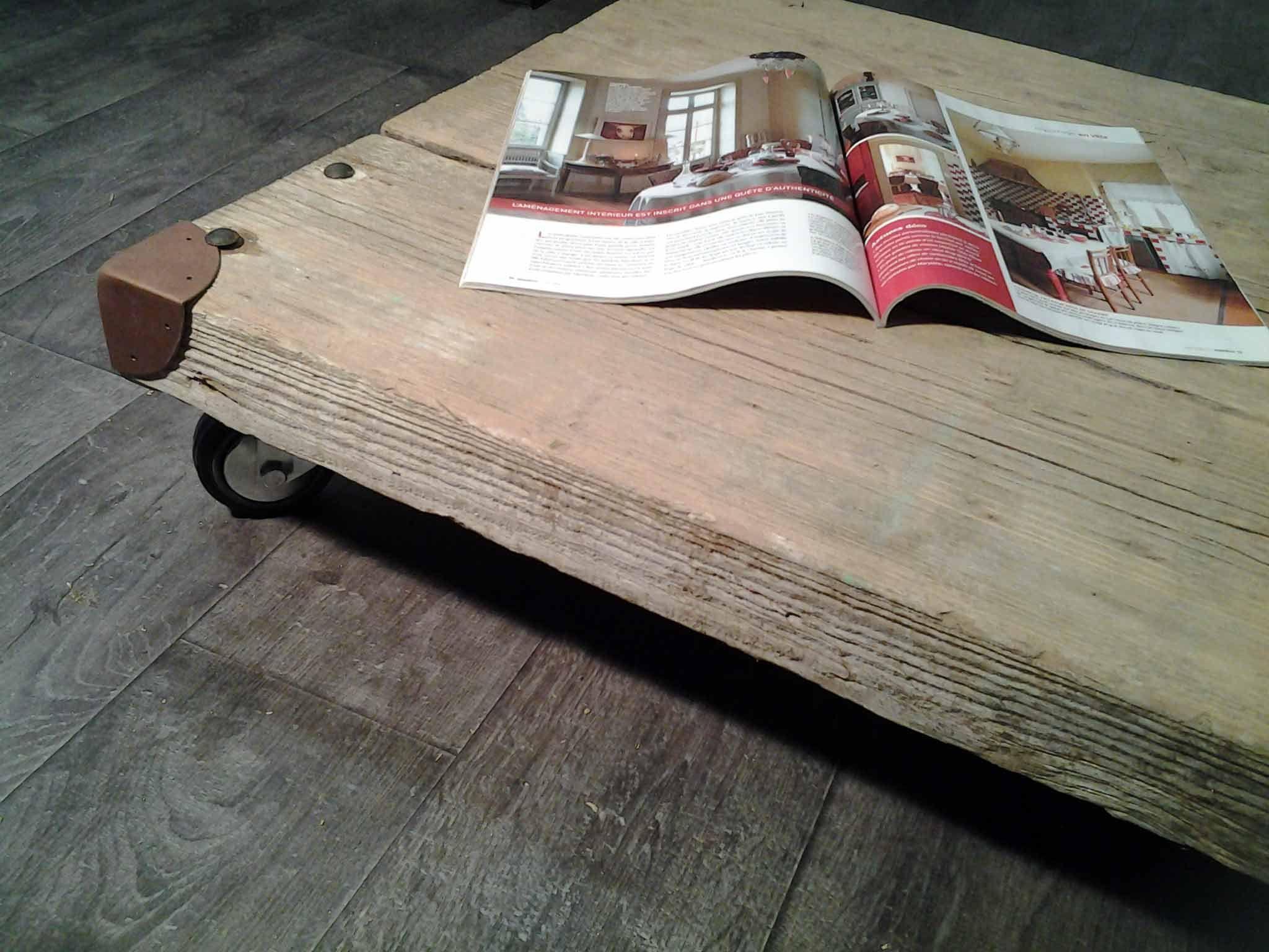 Table basse bois brut peindre - Comment fabriquer une table basse en bois ...