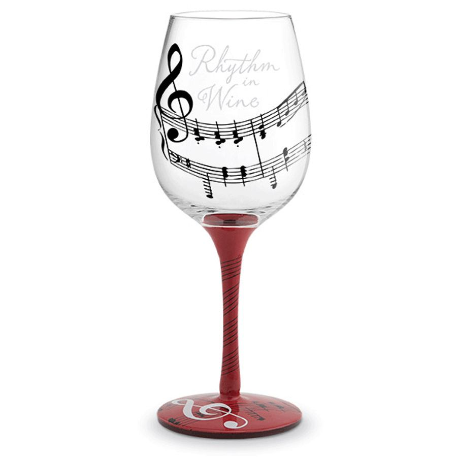 Music Painted Wine Glass Hand Painted Wine Glasses