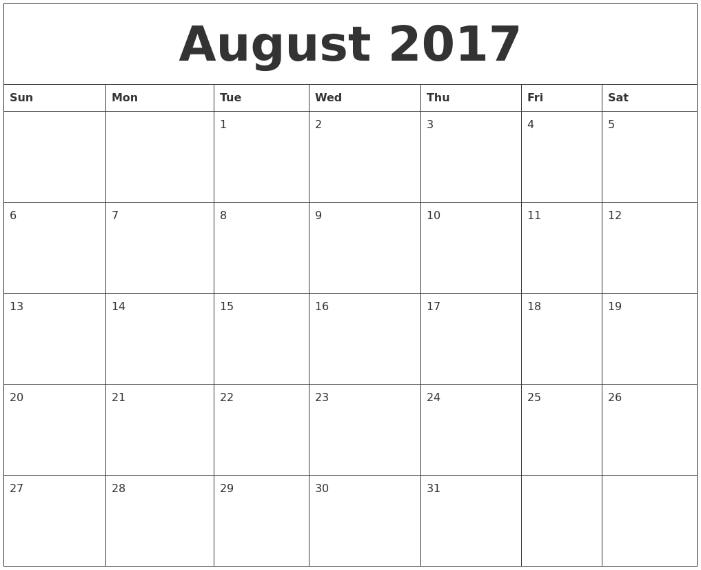 August 2017 Calendar Fillable – August Calendar 2017