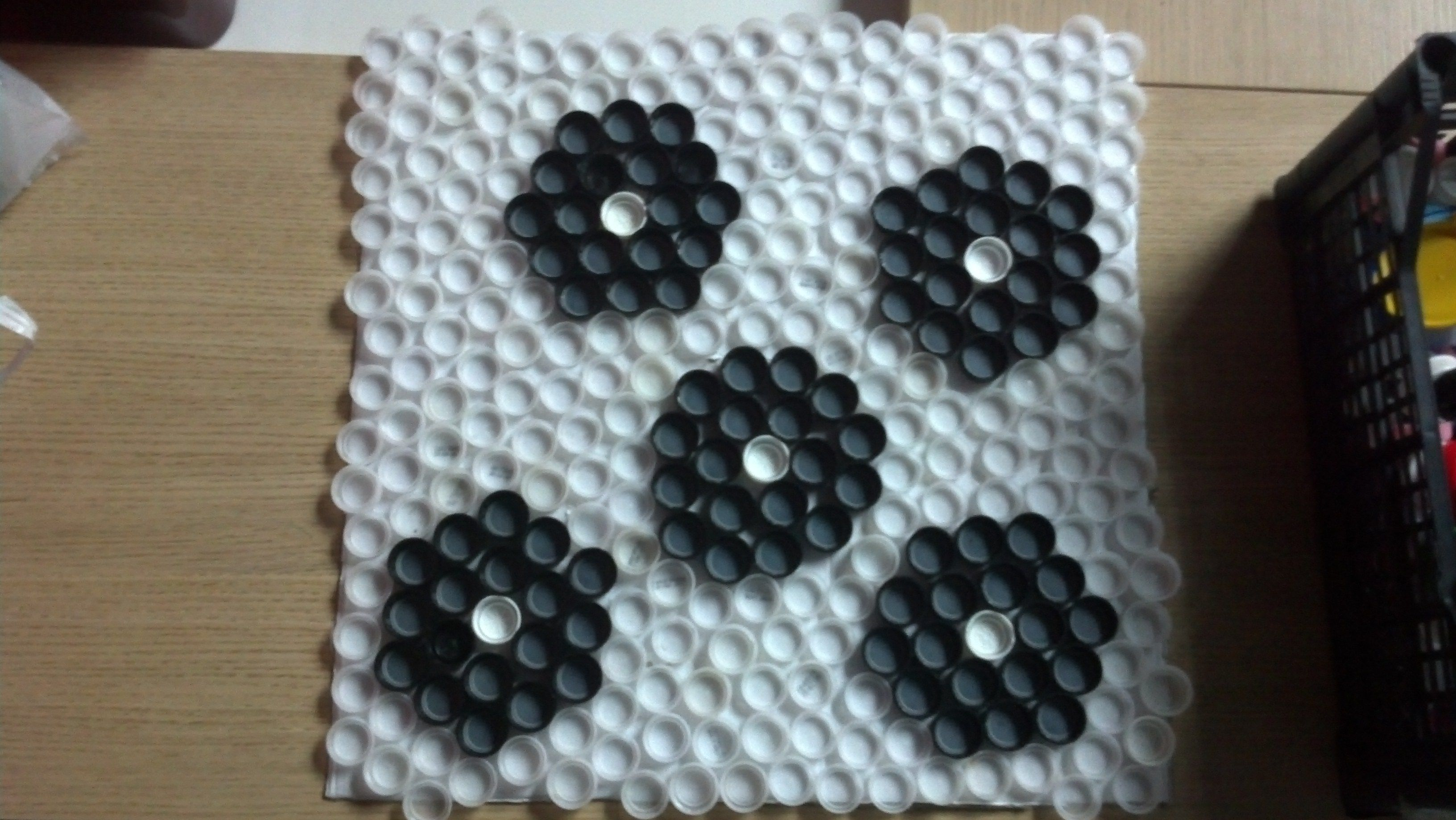 Upcycled mural from plastic bottle caps crafts reuse plastic bottle caps pinterest - Plastic bottle caps crafts ideas ...