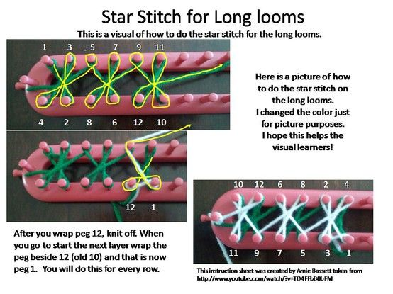 Loom Knitting Stitch Guide 2 : Star Stitch for long looms Loom knitting Pinterest