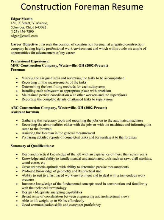 resume for construction job