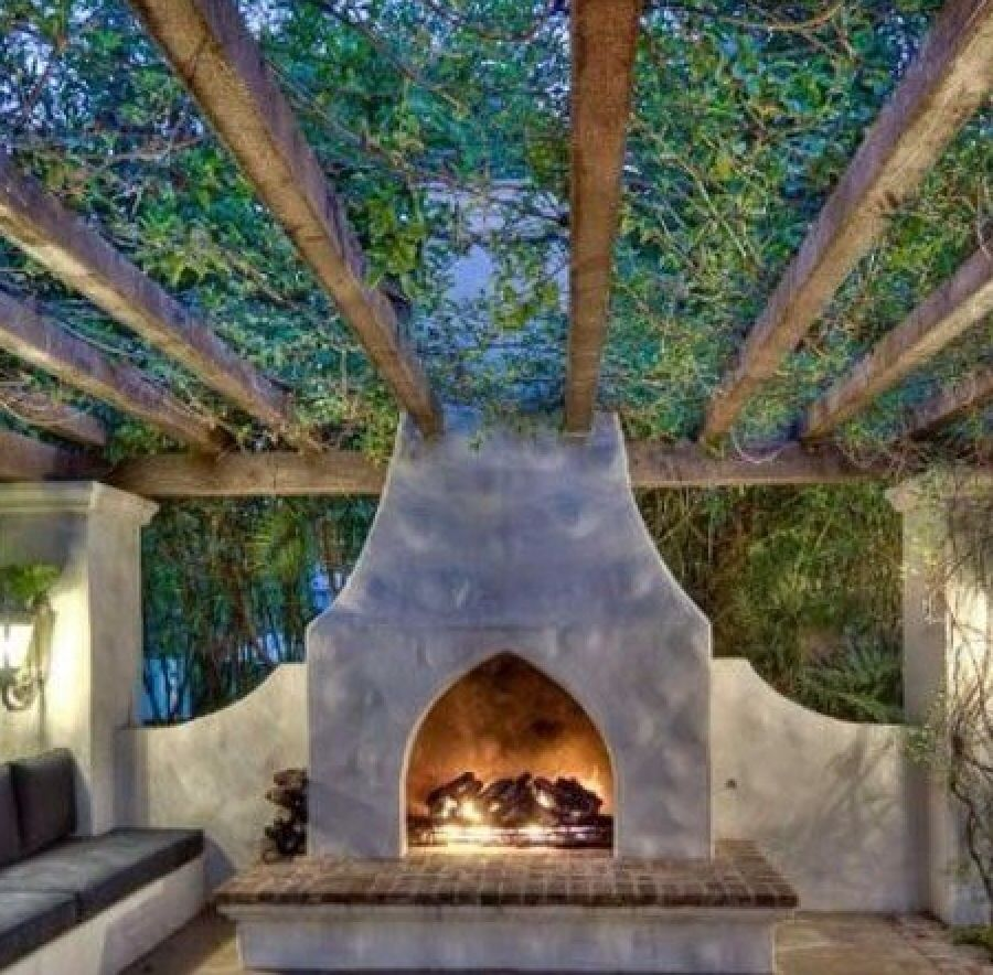 Outdoor fireplace pergola outdoor fireplaces pinterest for Pool with fireplace