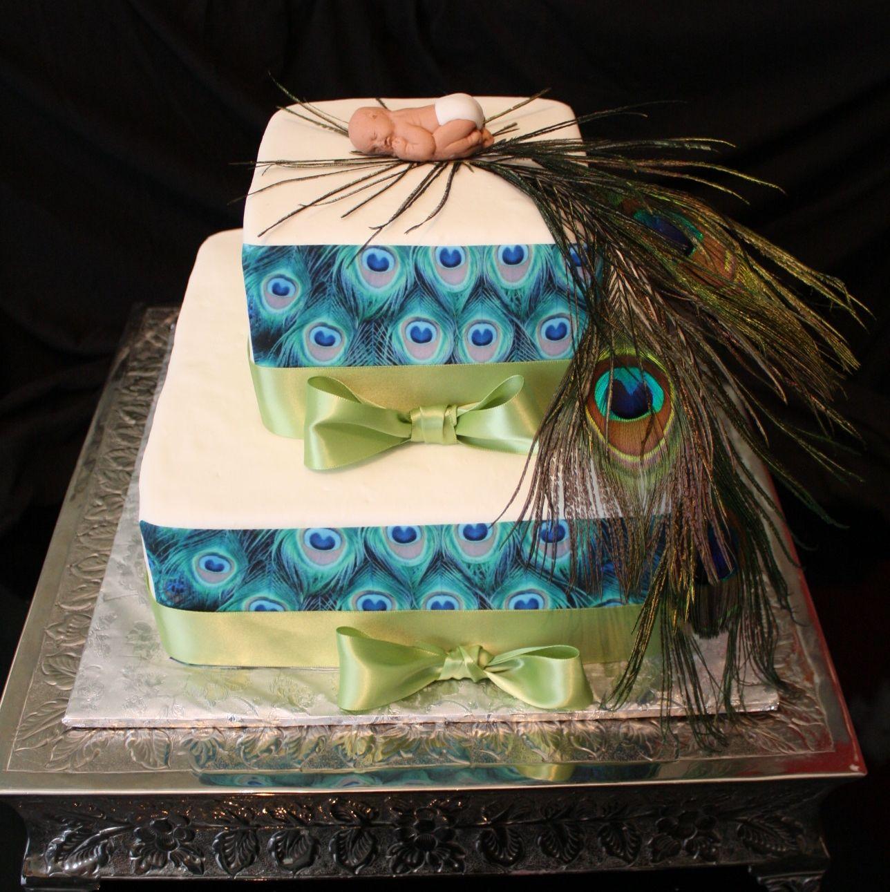 peacock baby shower cake baby shower pinterest