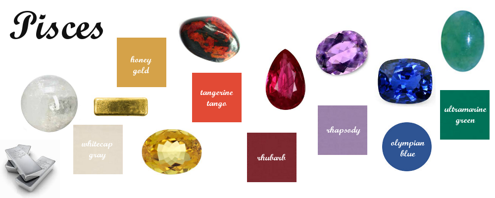 Pisces Birthstones, Element Gemstones and Pantone Matches. | Color ...