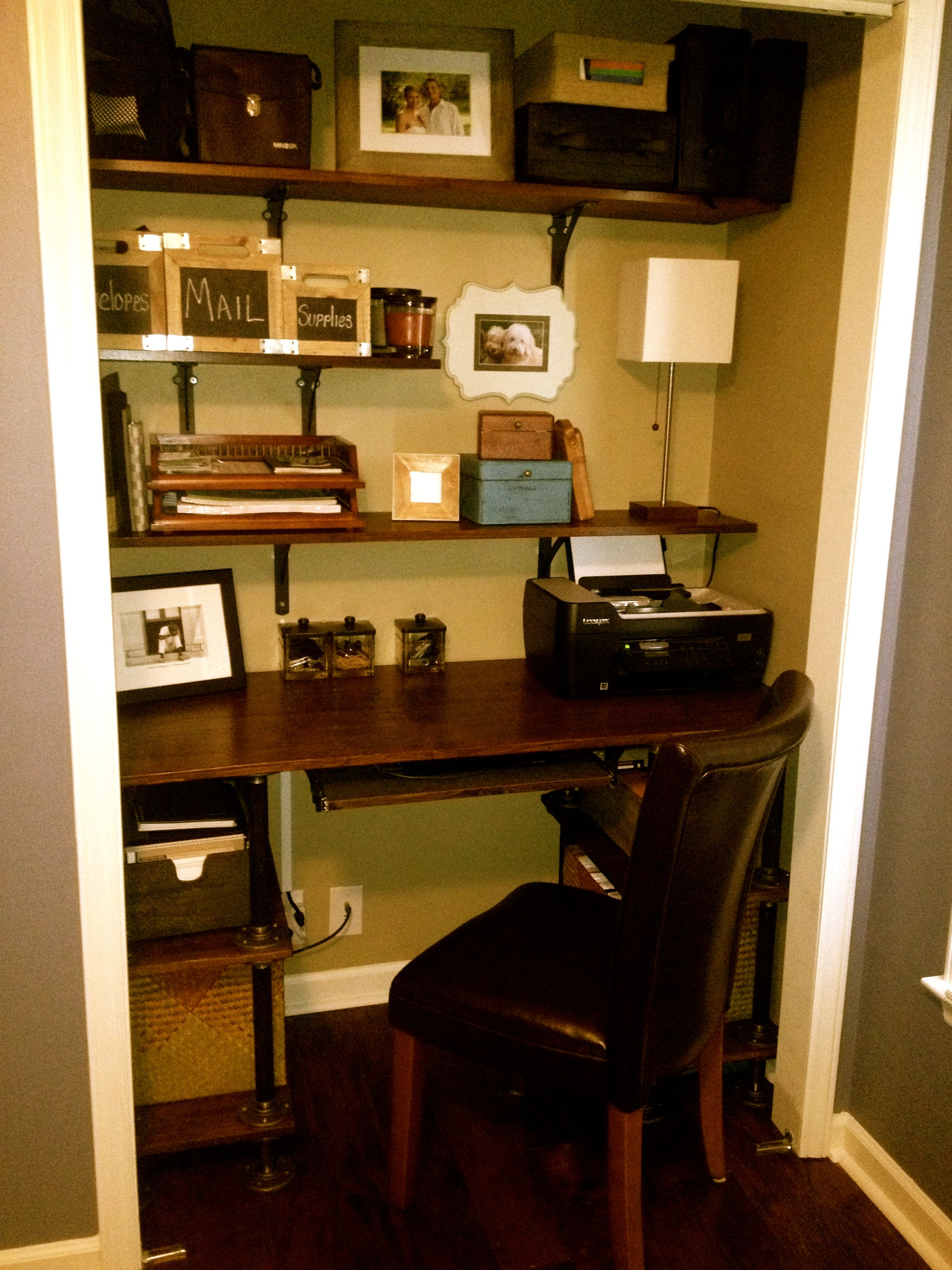 Closet Desk Pipe Desk Homes Decor Pinterest
