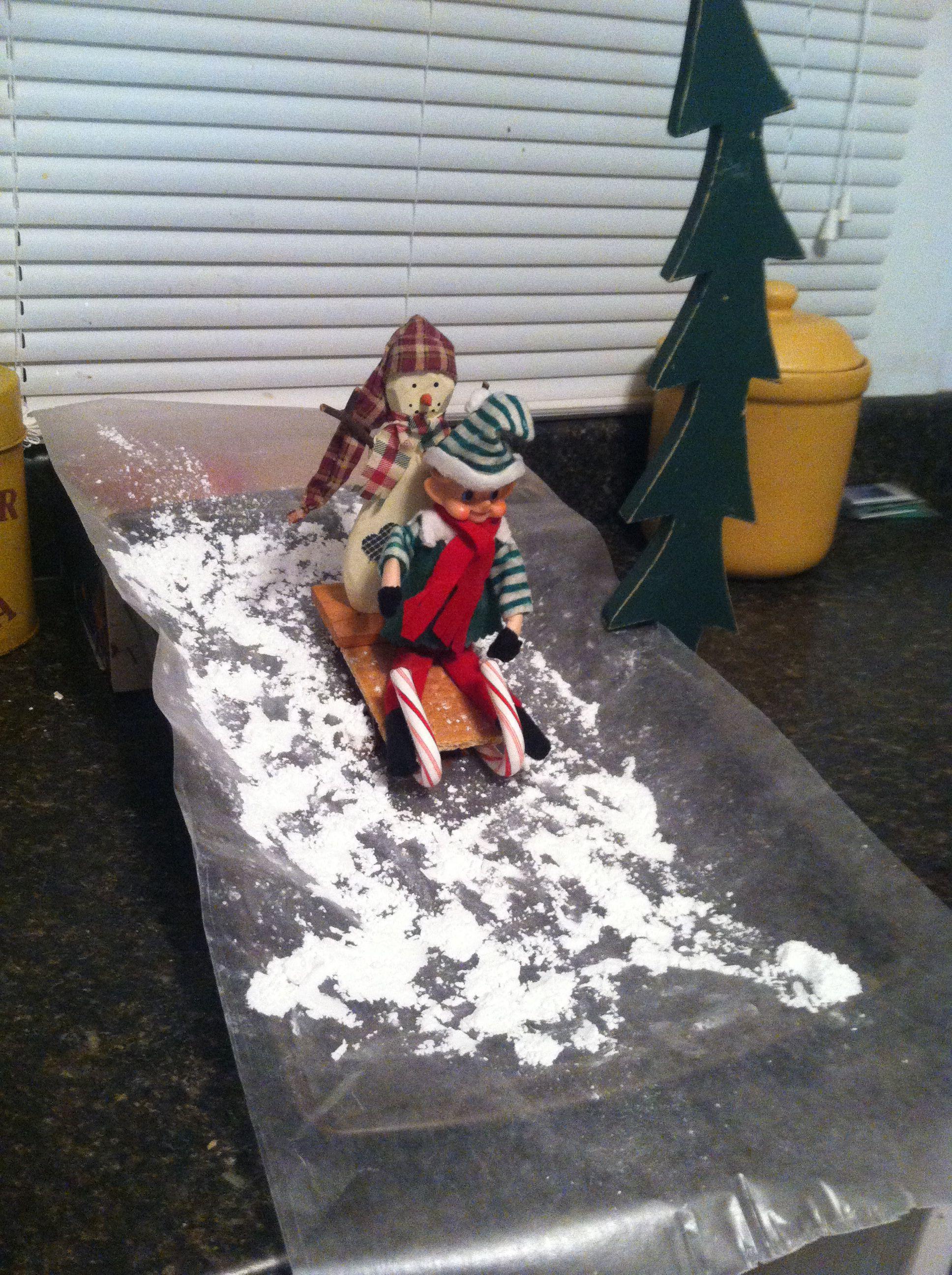 Elf on the shelf sled riding with frosty | Elf on shelf~ | Pinterest