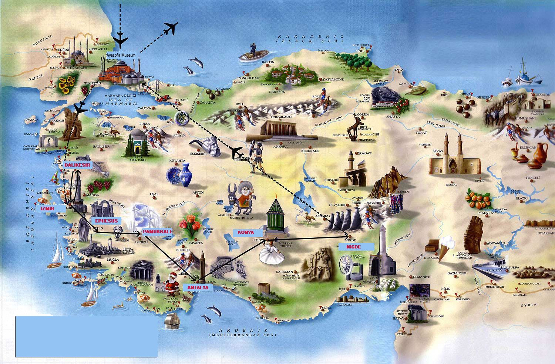 достопримечательности Турции с фото на карте