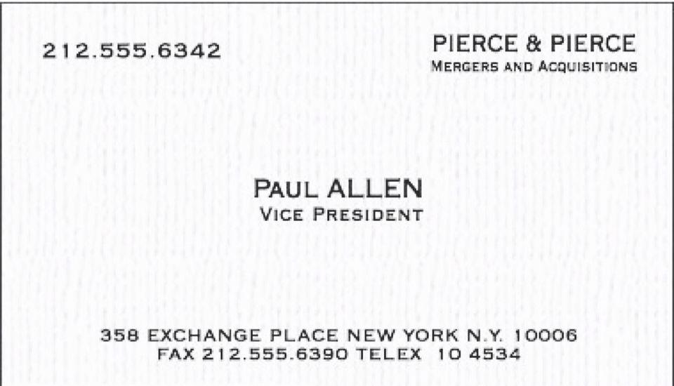 Similiar Paul Allen Business Card Font Keywords