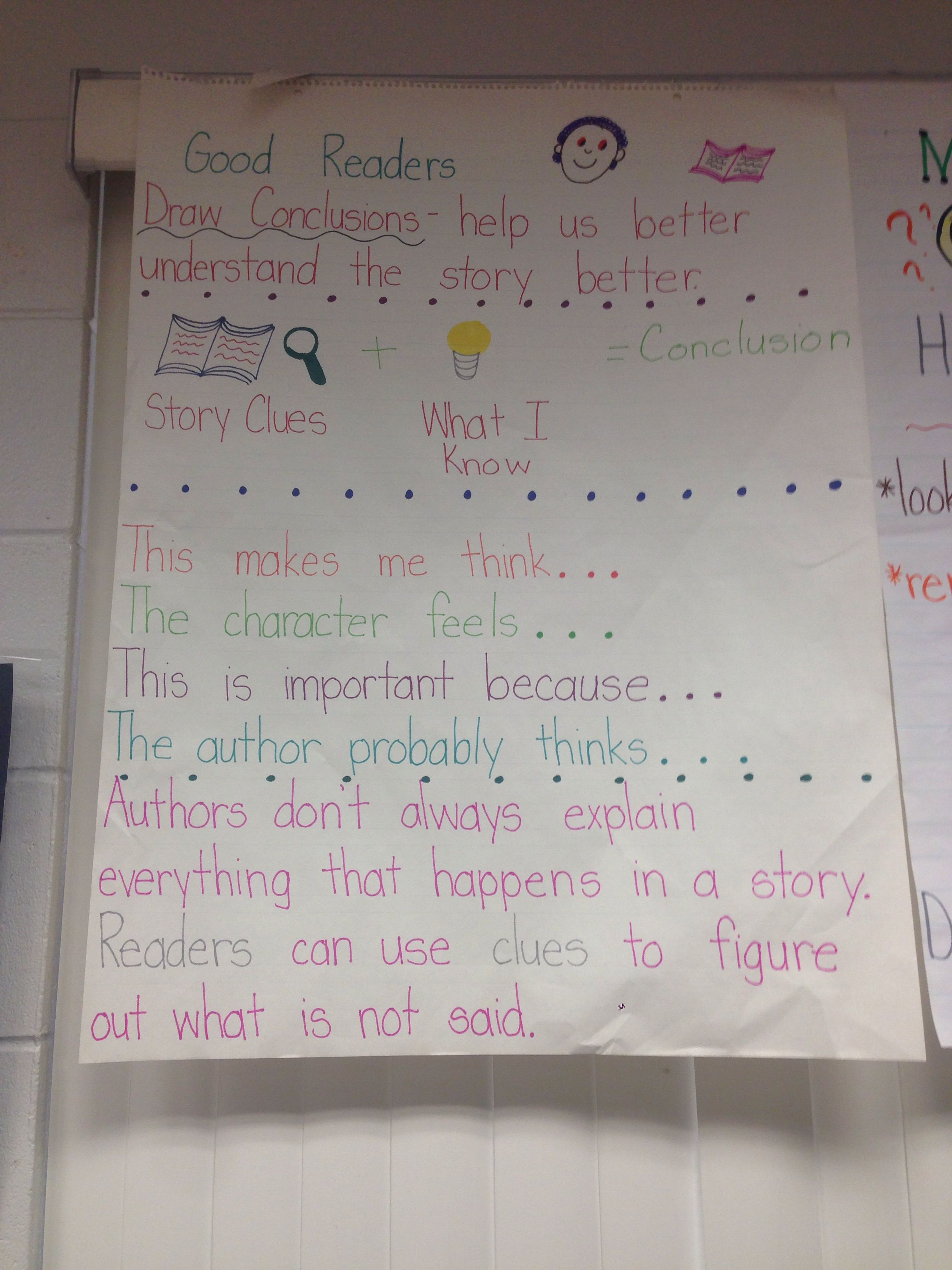 Drawing conclusions anchor chart | School crafts | Pinterest