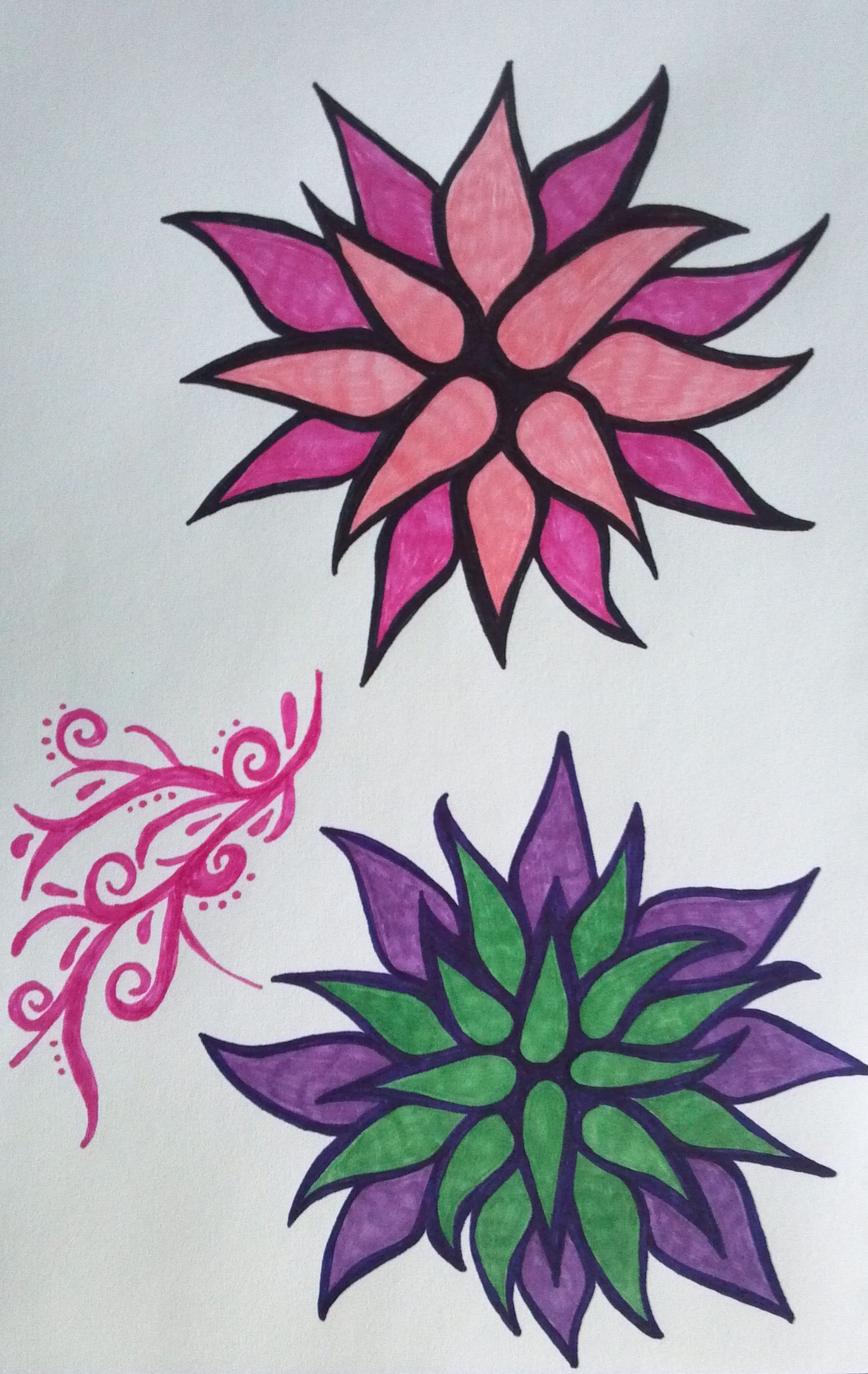 Flowers...done with sharpie markers - SF | My marker art and doodles ...