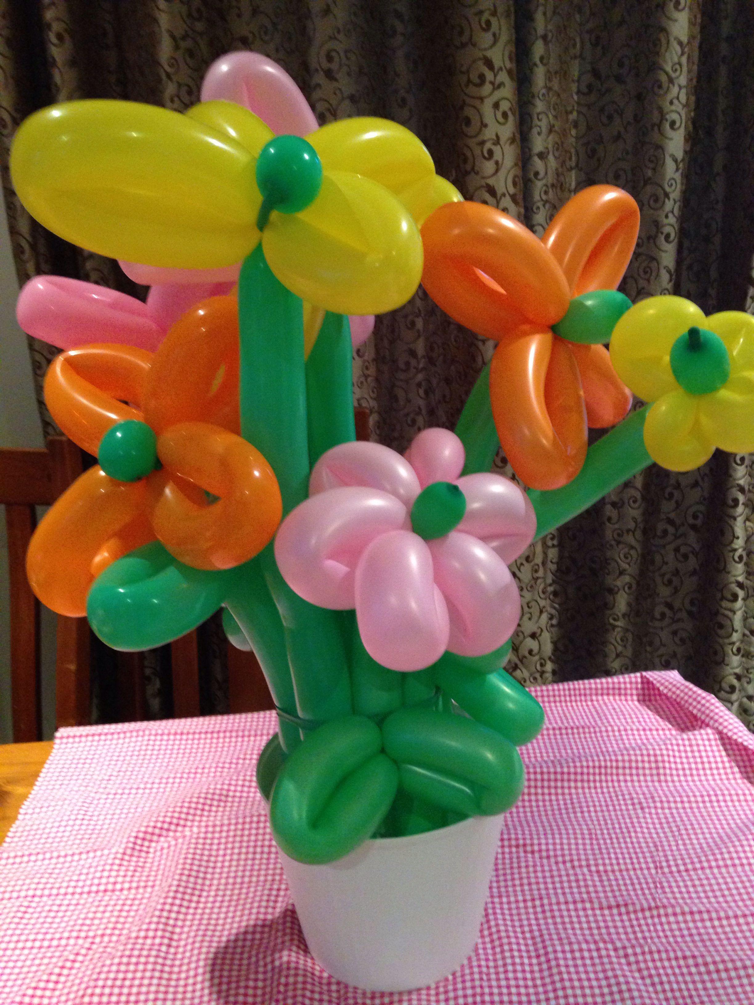 Balloon boquet for buffet centerpiece pink orange