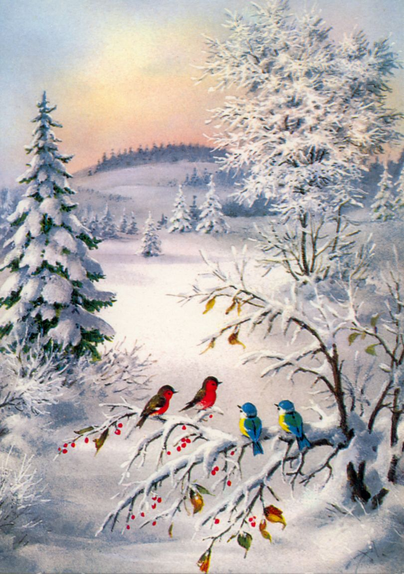 Winter scene favorite illustrations pinterest Christmas card scenes to paint
