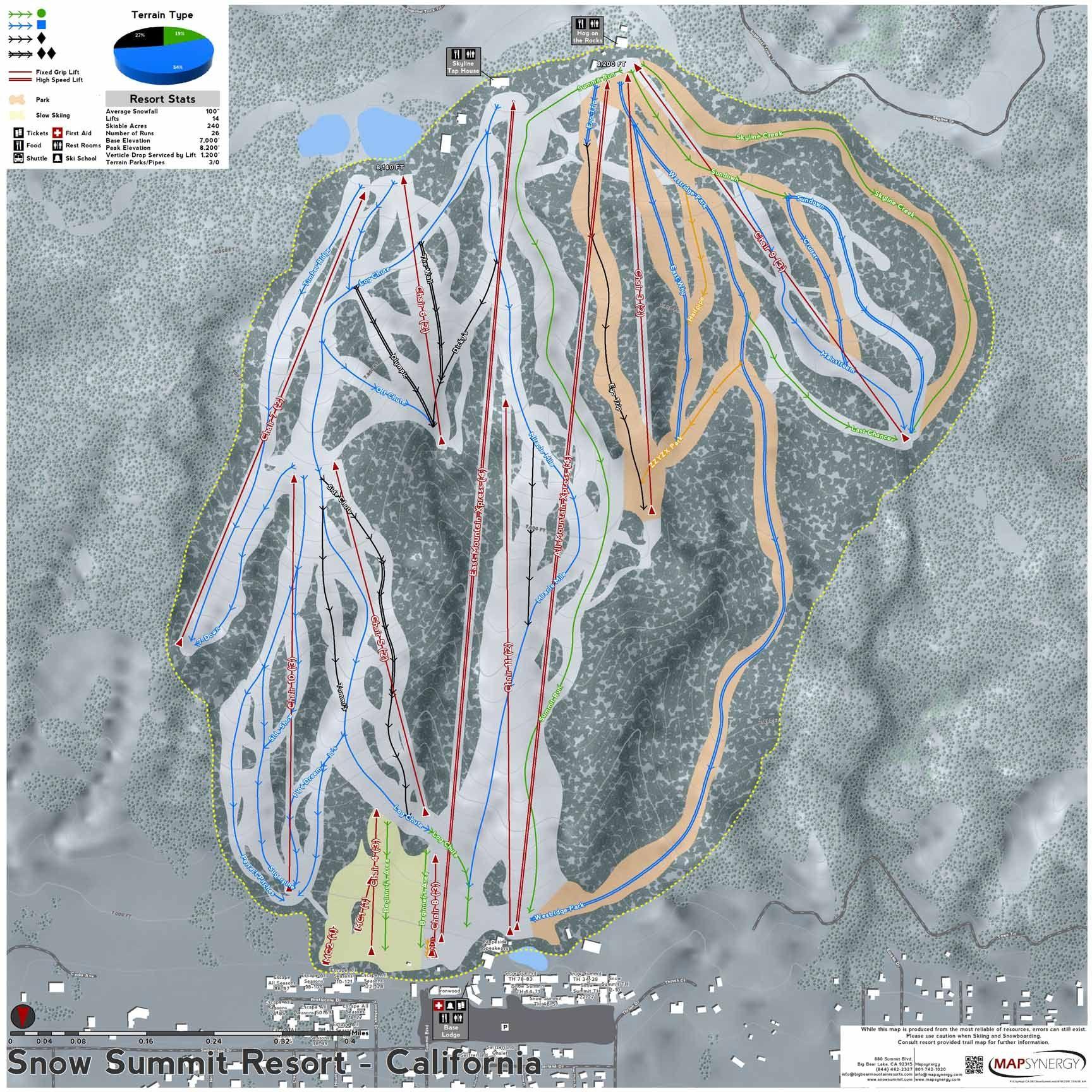 Snow Summit Resort Ski Map California Ski Resort Maps In