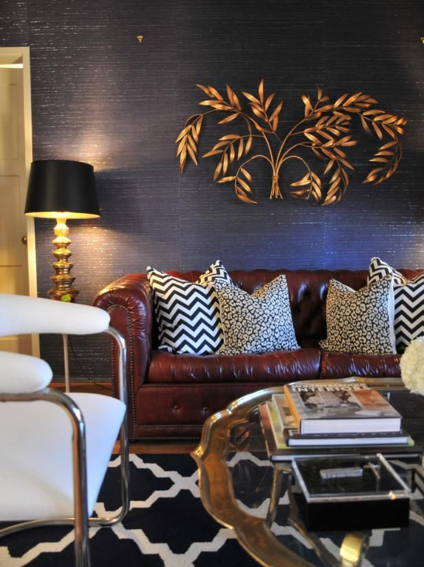Navy Blue Living Room With Gold Decor And Leather