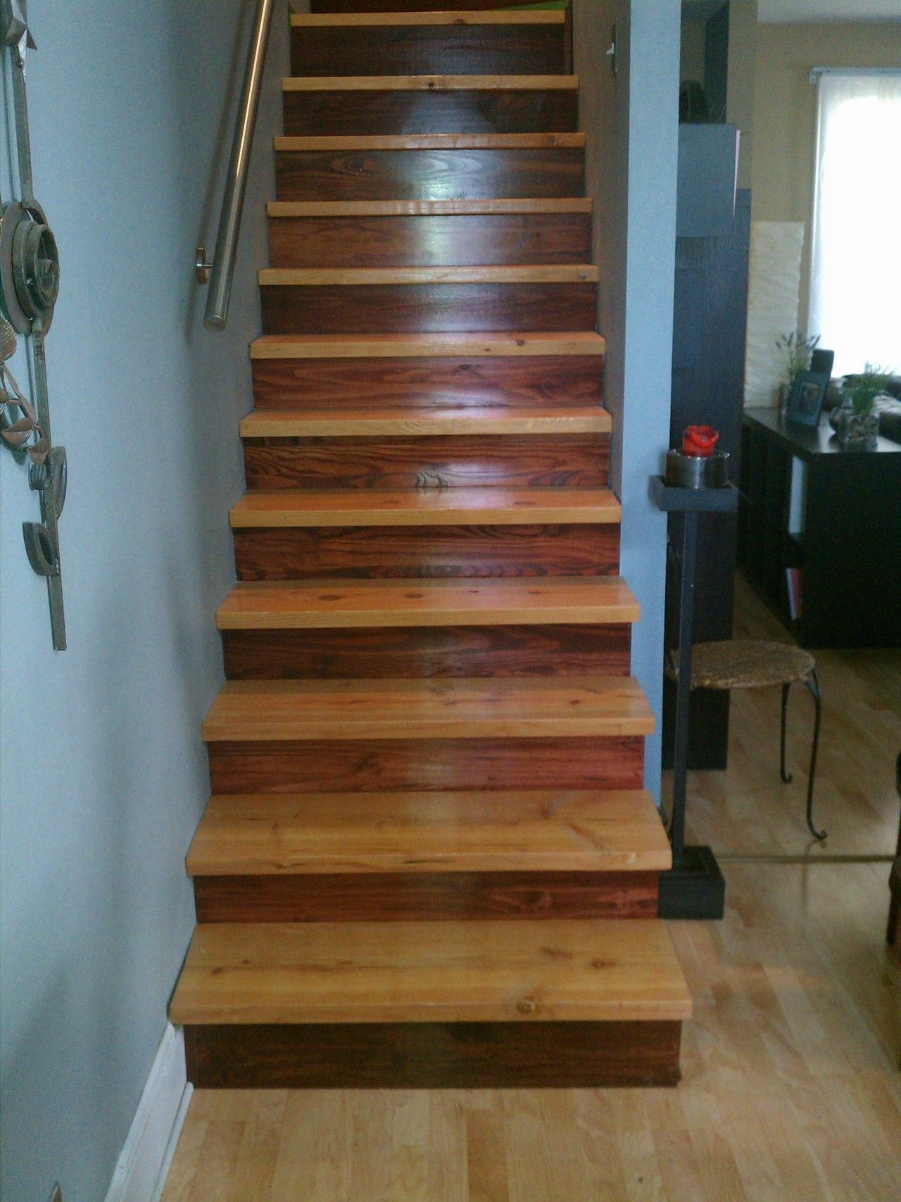 Two stain stairs diy for the home pinterest for Diy wood stairs