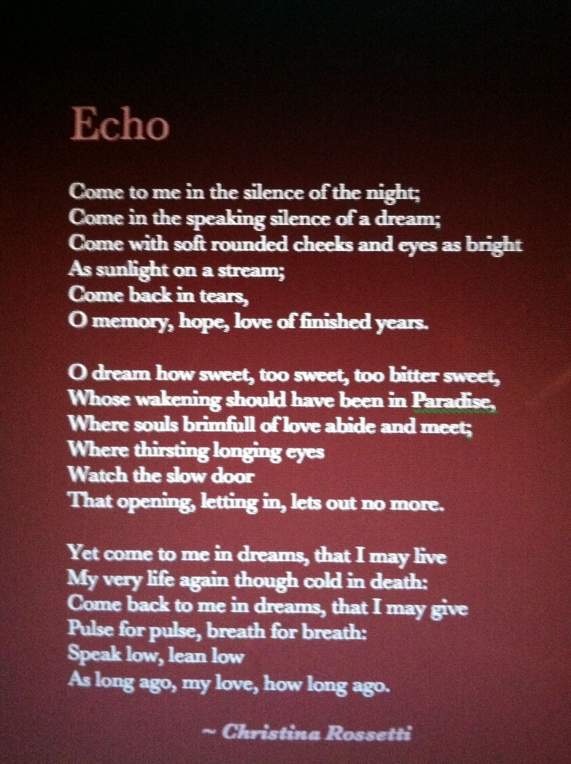 Remember by Christina Rossetti