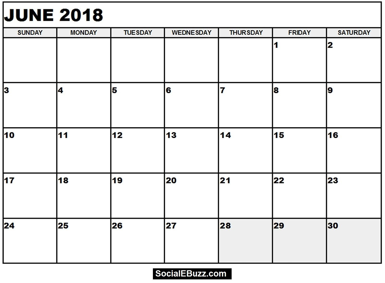 June 2018 Calendar Printable Template, June Calendar 2018, June ...