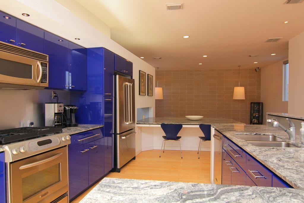 blue modern kitchen 505 W Alabama D  Main Floor Townhome  Pintere?