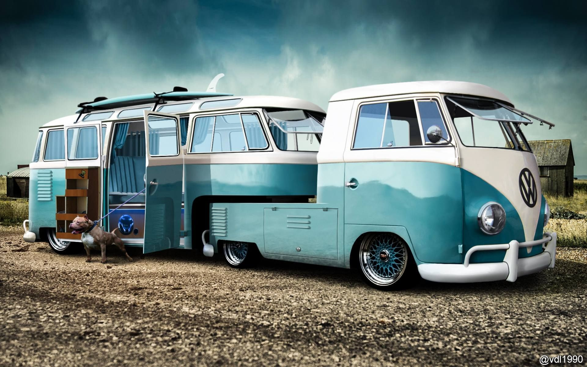 Uma kombi engatada na outra como trailer para curtir o for Garage volkswagen le landreau