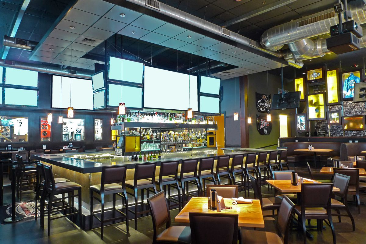 Pin by andris silins on sport bars interior pinterest for Sports bar interior design ideas