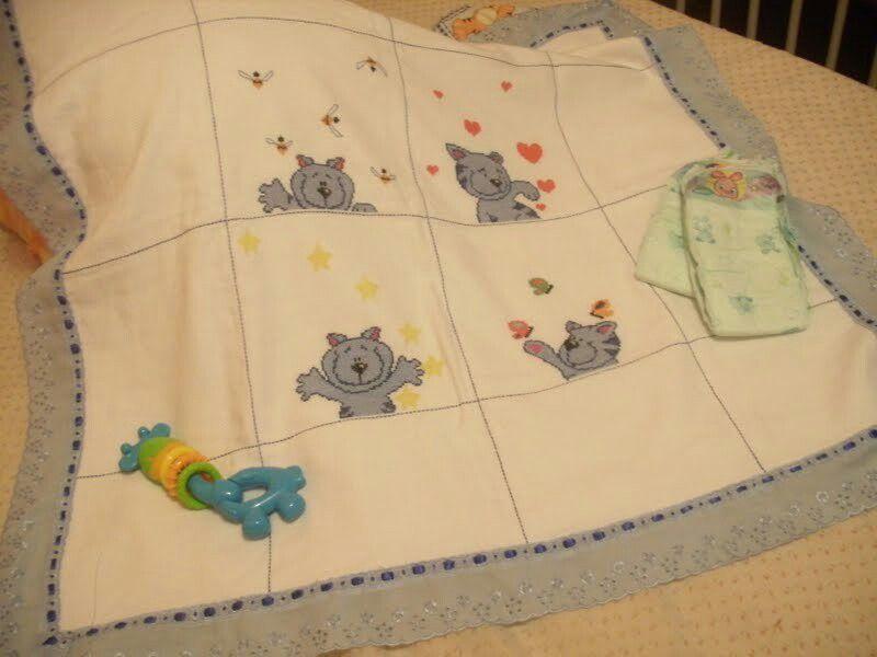 Cross stitch baby blanket cross stitch Pinterest