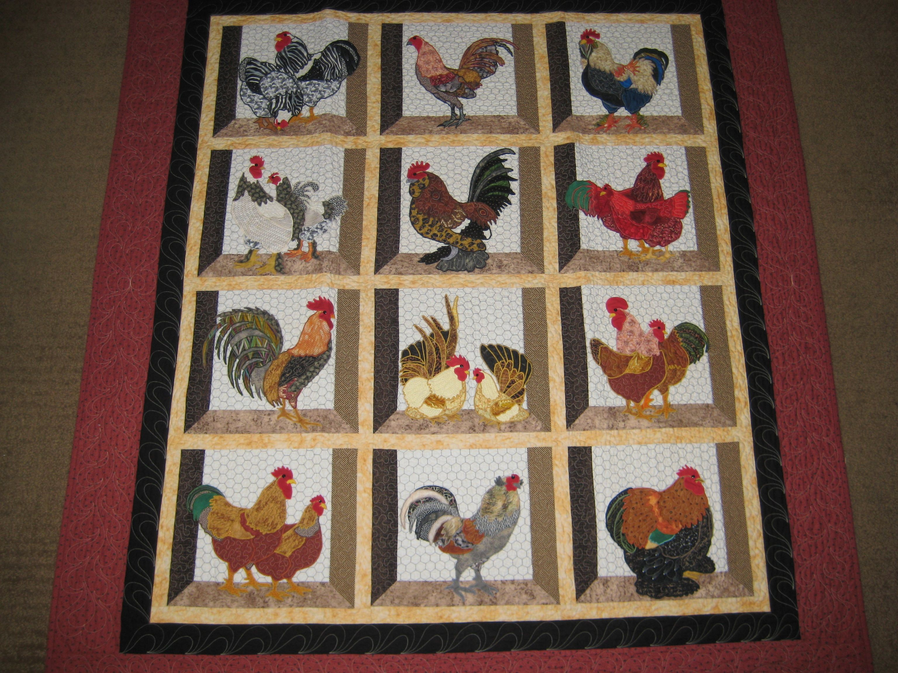 Rooster quilt Quilting Pinterest