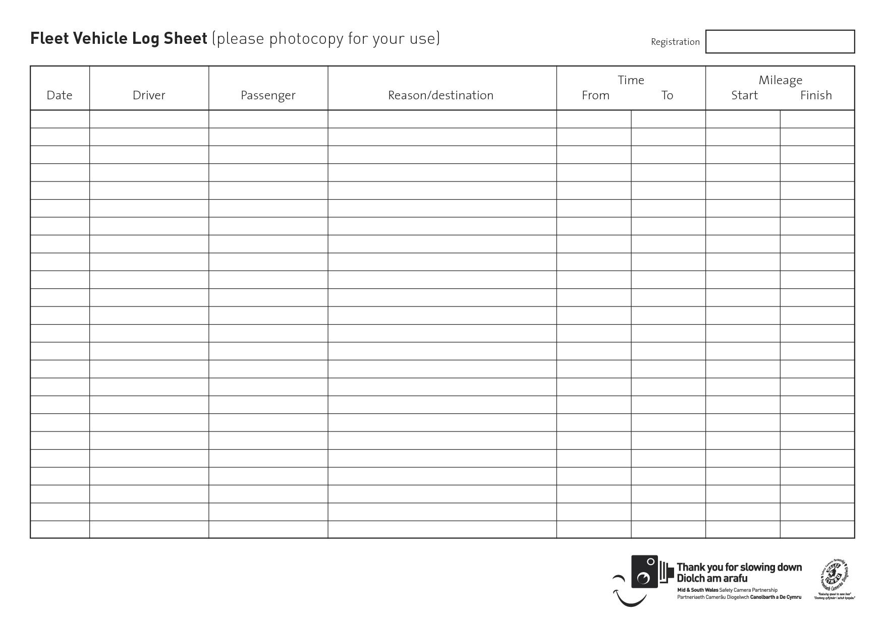 Vehicle Daily Log Sheet – Printable Editable Blank