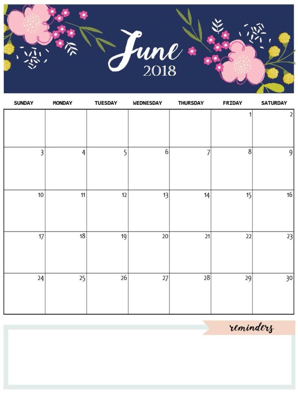 June 2018 Cute Calendar | MaxCalendars | Pinterest | Calendar 2018 ...