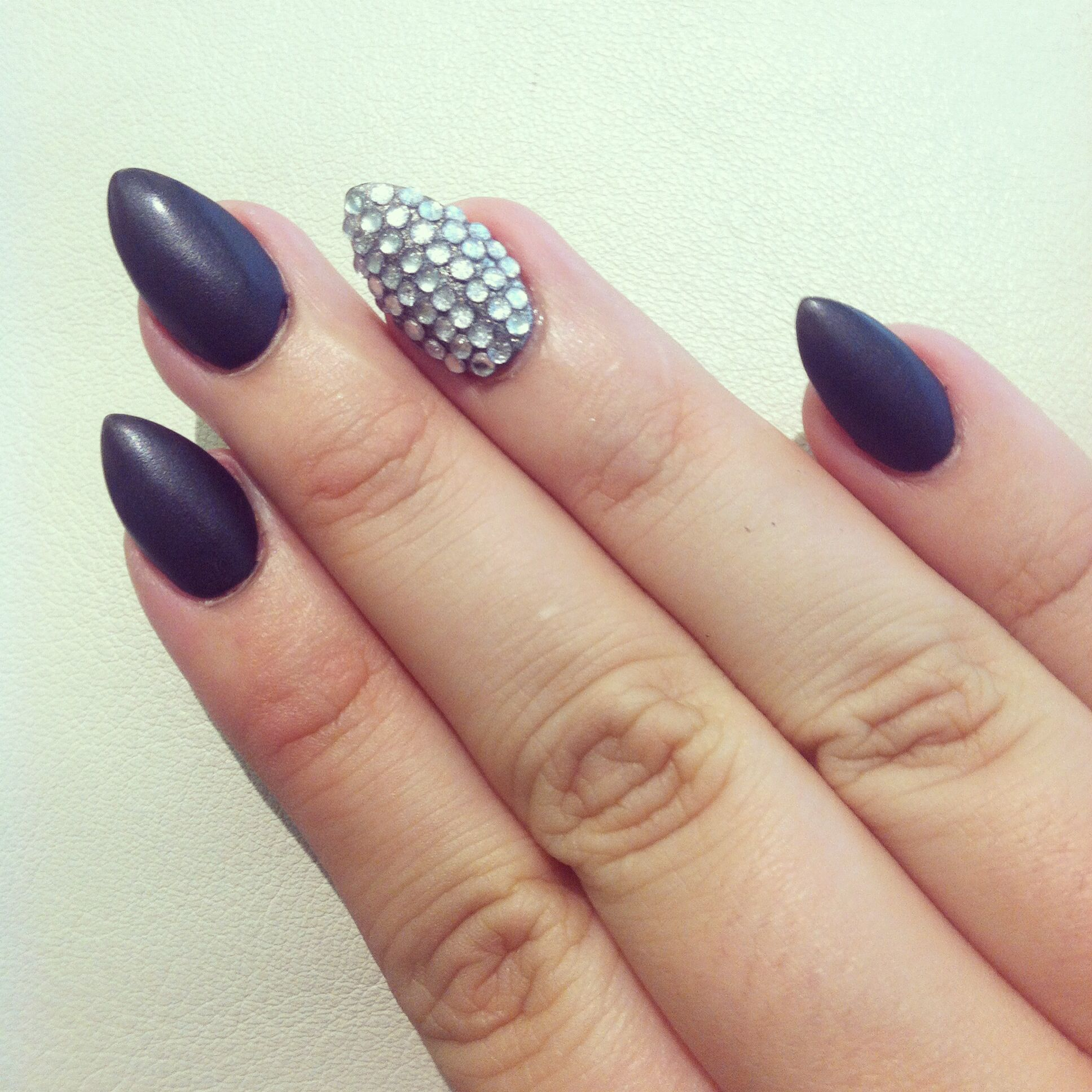 Matte Almond Nails