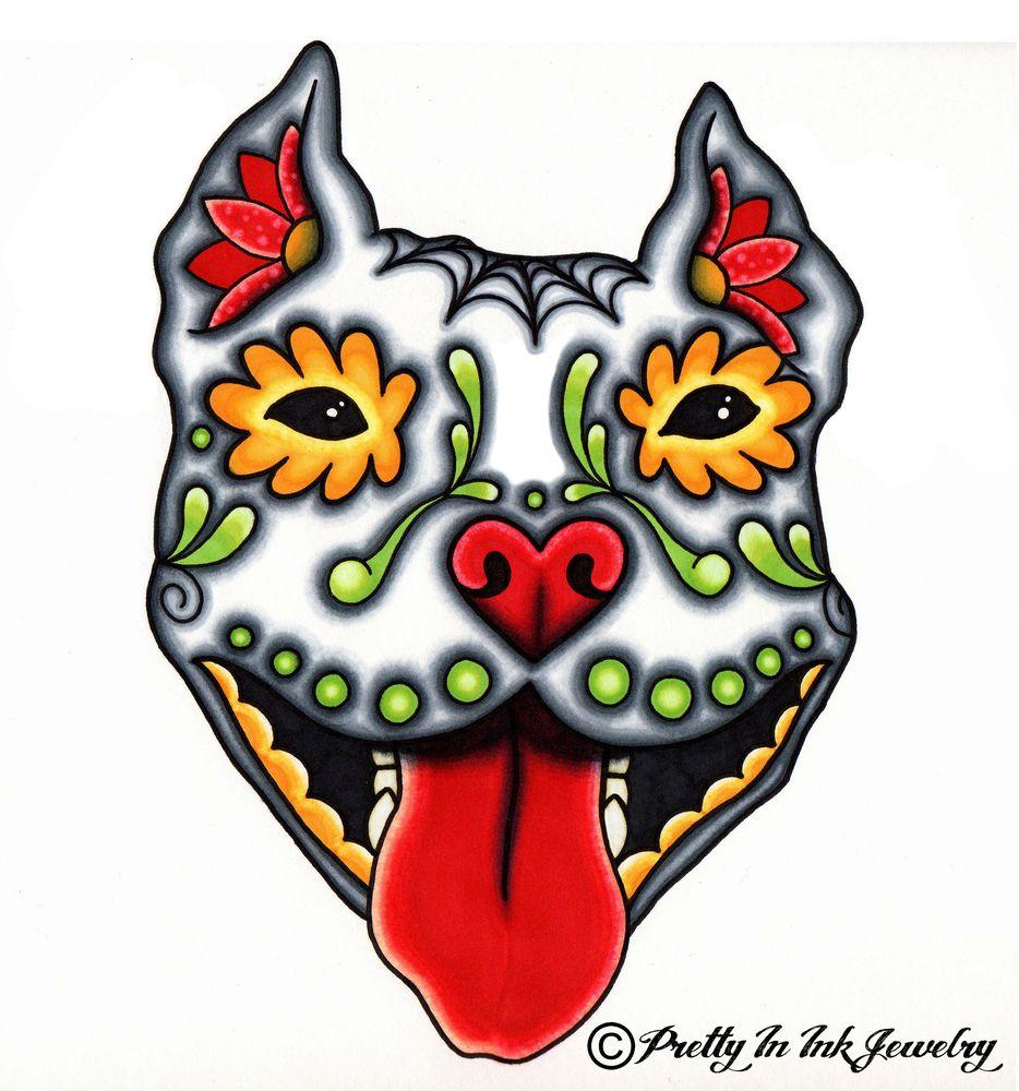 Dog sugar skull tattoo