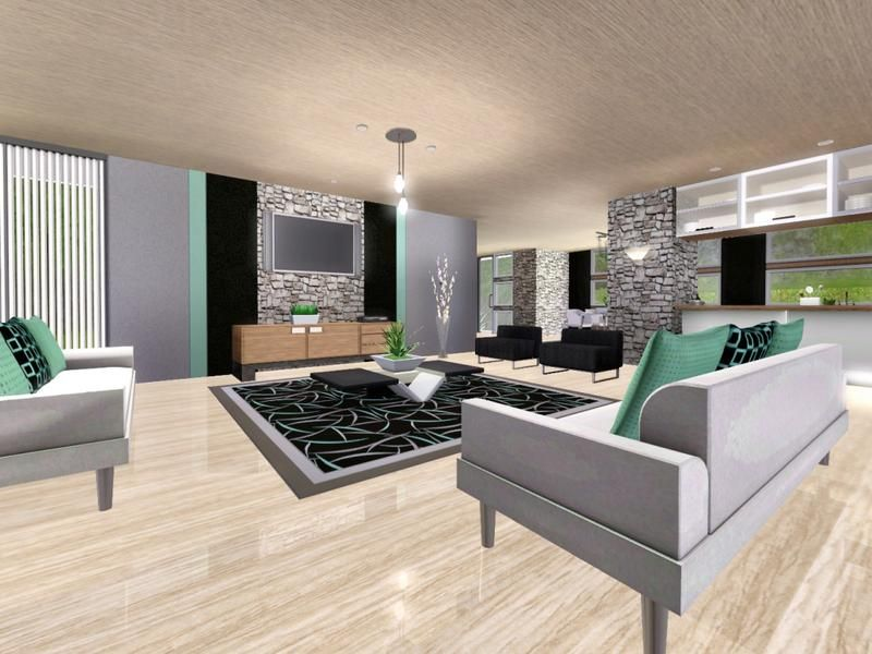 sims 3 living room designs  Mansion with Unique Pool The Sims 3 (Living Room) | Sims stuff ...