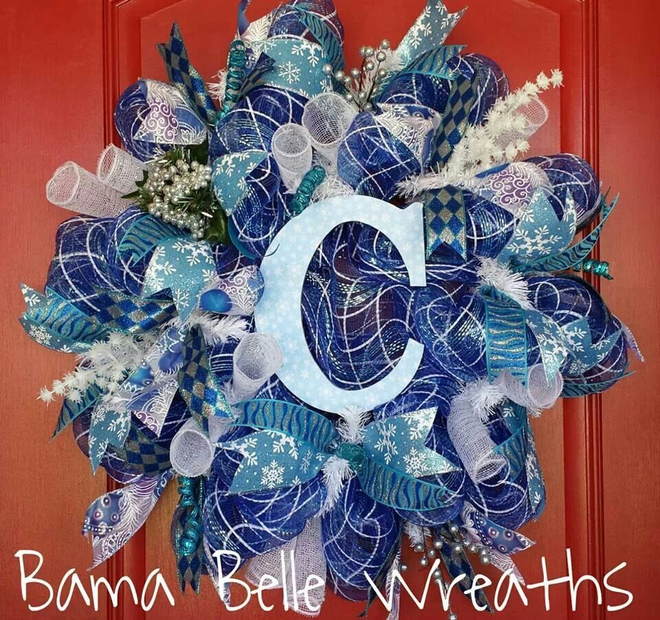 Blue Christmas Wreath Holiday Ideas Pinterest