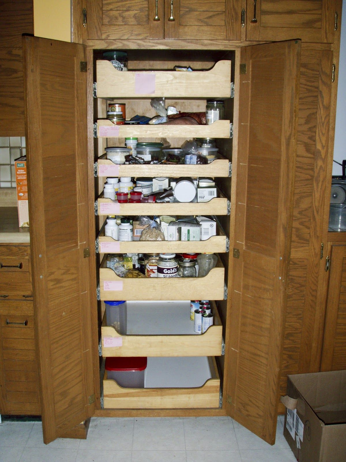 Pull out shelves shelves and pantry on pinterest - Roll out shelving for pantry ...