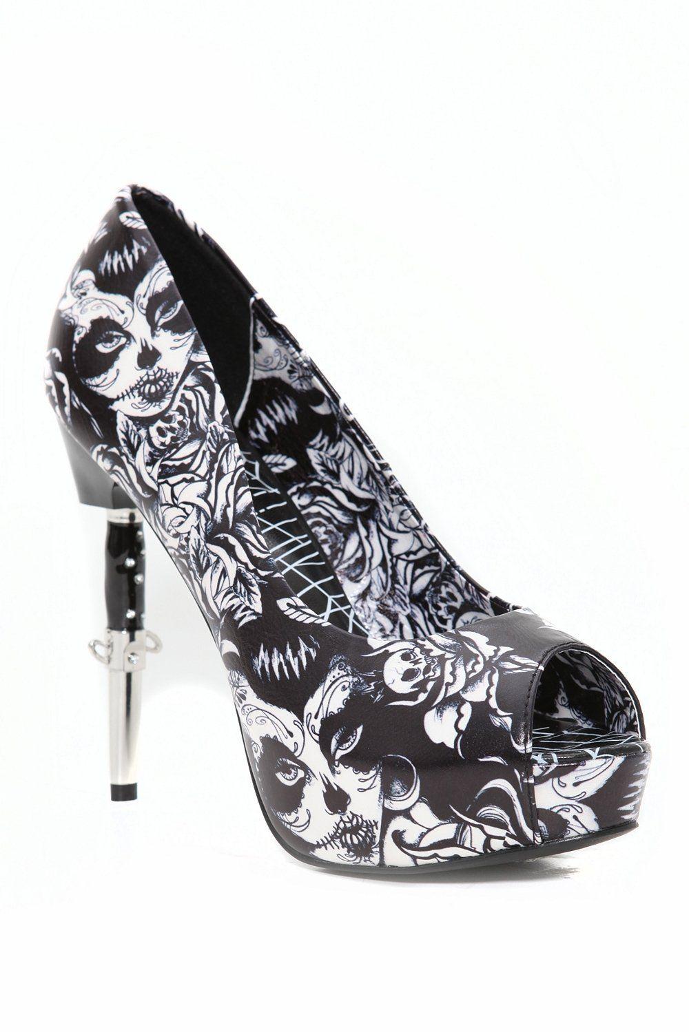 black white high heels shoes