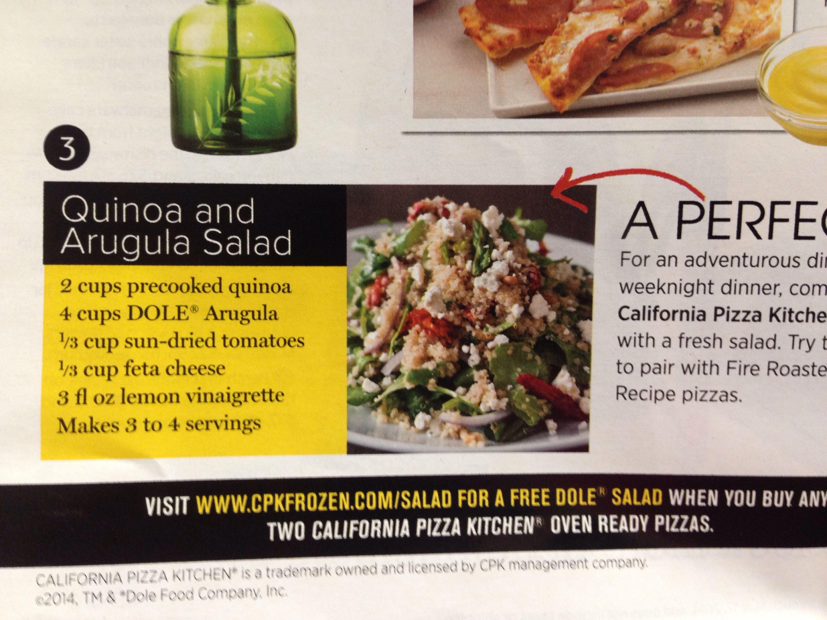 Quinoa and arugula salad | Healthy Eating | Pinterest