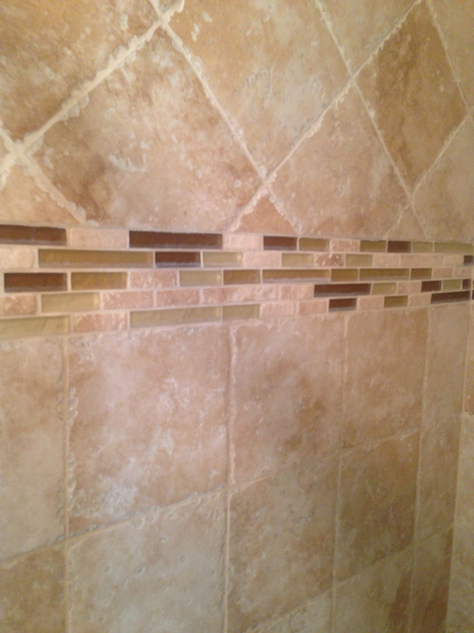 Shower stall tile with glass tile inlay tile pinterest Tile shower stalls